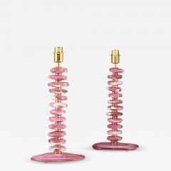 Tall pair of Italian Murano pink purple glass Pebble lamps - 1924623