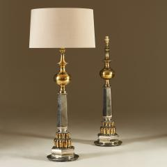 Tall pair of late 1950s American brass and chrome table lights - 1964460