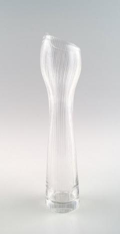 Tapio Wirkkala Clear art glass vase with engraved decoration in the form of stripes - 1330717