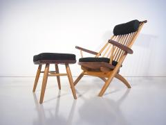 Tateishi Shoiji Tateishi Shoiji Oak and Walnut Easy Chair and Stool - 1177235