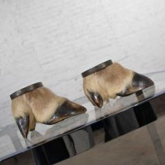 Taxidermy caribou hooves with bronze ash tray insert vide poche or candle holder - 1843713