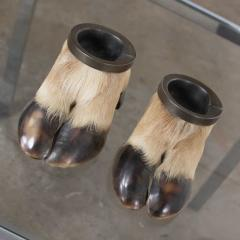 Taxidermy caribou hooves with bronze ash tray insert vide poche or candle holder - 1843715
