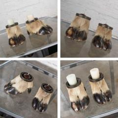 Taxidermy caribou hooves with bronze ash tray insert vide poche or candle holder - 1843717