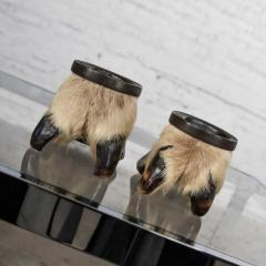 Taxidermy caribou hooves with bronze ash tray insert vide poche or candle holder - 1843727