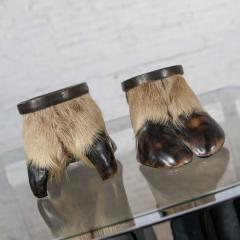 Taxidermy caribou hooves with bronze ash tray insert vide poche or candle holder - 1843745