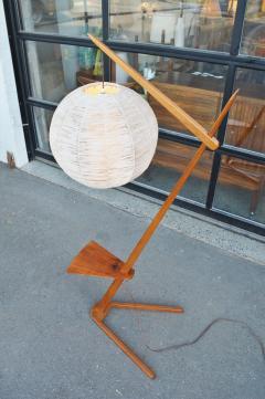 Teak Cantilever Floor Lamp w Table Rafia Wrapped Globe Shade - 2093887