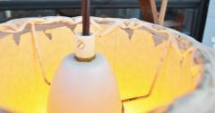 Teak Cantilever Floor Lamp w Table Rafia Wrapped Globe Shade - 2093908
