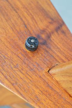 Teak Cantilever Floor Lamp w Table Rafia Wrapped Globe Shade - 2093914