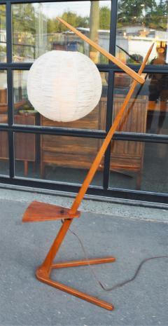 Teak Cantilever Floor Lamp w Table Rafia Wrapped Globe Shade - 2093917