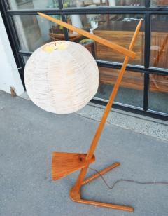 Teak Cantilever Floor Lamp w Table Rafia Wrapped Globe Shade - 2093922
