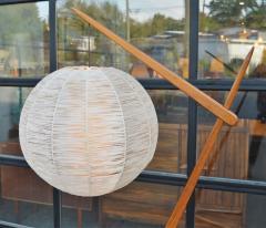 Teak Cantilever Floor Lamp w Table Rafia Wrapped Globe Shade - 2093929