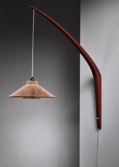 Teak boomerang wall lamp with rope shade 1950s - 1225432