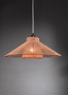 Teak boomerang wall lamp with rope shade 1950s - 1225433
