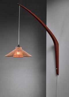 Teak boomerang wall lamp with rope shade 1950s - 1225434
