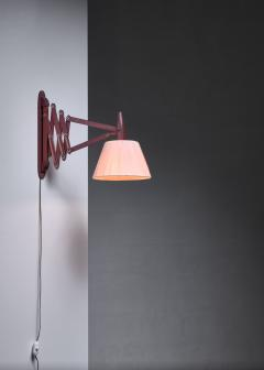 Teak scissor arm wall lamp - 1392729