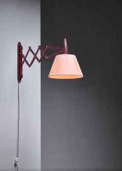 Teak scissor arm wall lamp - 1392732