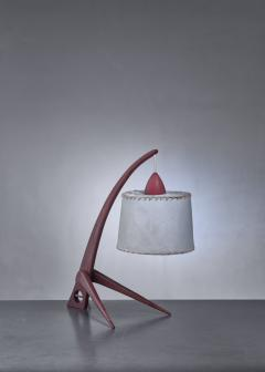 Teak table lamp with paper shade - 1300633