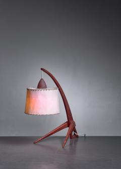 Teak table lamp with paper shade - 1300634