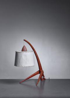 Teak table lamp with paper shade - 1300635