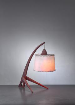 Teak table lamp with paper shade - 1300636