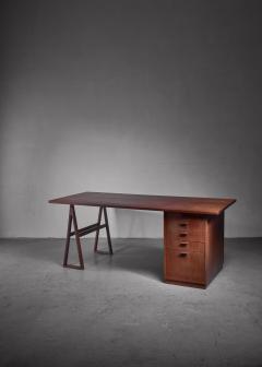 Teak veneered desk Sweden - 1225159