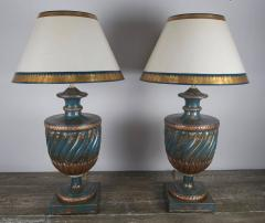 Teal and Gold Chinoiserie Painted Colored Lamps Pair - 568132