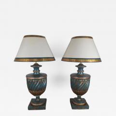 Teal and Gold Chinoiserie Painted Colored Lamps Pair - 571089