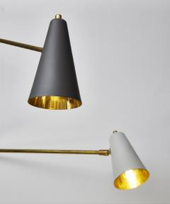 Ten Arms Midcentury Style Chandelier with Grey and White Cones - 1173800