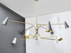 Ten Arms Midcentury Style Chandelier with Grey and White Cones - 1173801