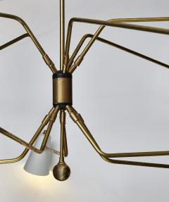 Ten Arms Midcentury Style Chandelier with Grey and White Cones - 1173802