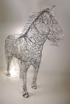 Terence Gower Massive Horse Sculpture Crafted From 1000 Chrome Coat Hangers for Barneys NY - 1191000