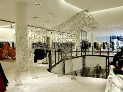 Terence Gower Massive Horse Sculpture Crafted From 1000 Chrome Coat Hangers for Barneys NY - 1191001