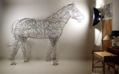 Terence Gower Massive Horse Sculpture Crafted From 1000 Chrome Coat Hangers for Barneys NY - 1191002