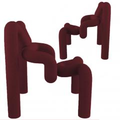 Terje Ekstrom Pair of Iconic Burgundy Armchairs by Terje Ekstrom Norway 1980s - 1181838