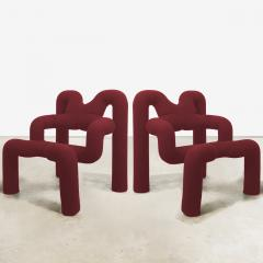 Terje Ekstrom Pair of Iconic Burgundy Armchairs by Terje Ekstrom Norway 1980s - 1181839