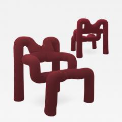Terje Ekstrom Pair of Iconic Burgundy Armchairs by Terje Ekstrom Norway 1980s - 1181987