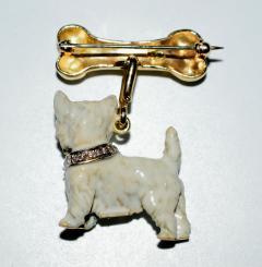 Terrier Dog Bone Gold Enamel Brooch - 2107286