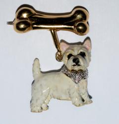 Terrier Dog Bone Gold Enamel Brooch - 2107287