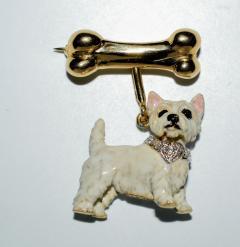 Terrier Dog Bone Gold Enamel Brooch - 2107288