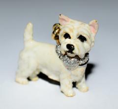 Terrier Dog Bone Gold Enamel Brooch - 2107289