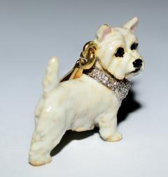 Terrier Dog Bone Gold Enamel Brooch - 2107291