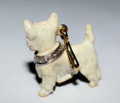Terrier Dog Bone Gold Enamel Brooch - 2107292