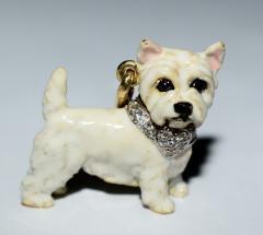 Terrier Dog Bone Gold Enamel Brooch - 2107293