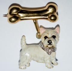Terrier Dog Bone Gold Enamel Brooch - 2107295