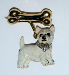 Terrier Dog Bone Gold Enamel Brooch - 2107296
