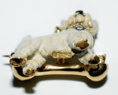 Terrier Dog Bone Gold Enamel Brooch - 2107297