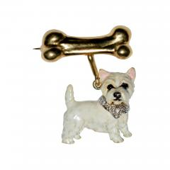 Terrier Dog Bone Gold Enamel Brooch - 2109778