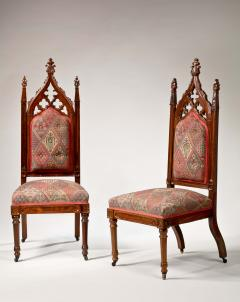 Thomas Brooks Pair of Gothic Revival Carved Rodewood Slipper Chairs - 282197