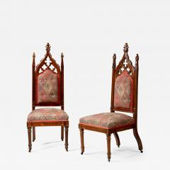 Thomas Brooks Pair of Gothic Revival Carved Rodewood Slipper Chairs - 282323