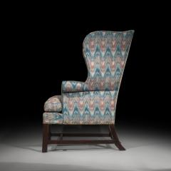 Thomas Chippendale Fine 18th Century English Chippendale Wingback Armchair in Flamestitch Fabric - 1078303
